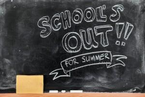 School's out for summer on blackboard