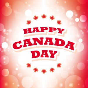 happy canada day greeting card abstract flag background vector